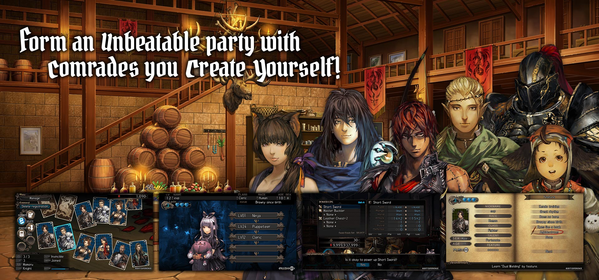 Form an unbeatable party with comrades you create yourself!